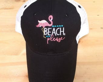 Beach Please trucker hat, flamingo hat, ladies hat, womens hat, embroidered hat, mesh back hat, beach hat, summer hat, gift for her, beach