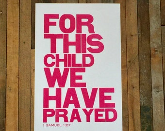 Religious Baby Nursery Art Print, For this Child We have Prayed, Pink Letterpress Poster, Children's Wall Art