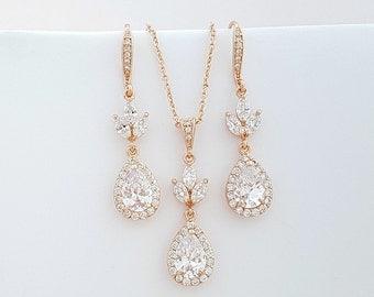 Rose Gold Wedding Jewelry Set, Bridesmaid Necklace Earring Set, Rose Gold Dangle Earring, Rose Gold Pendant Necklace, Lotus