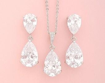 Crystal Bridal Jewelry Set , Crystal Earrings Necklace Set, Bridal Jewelry, Cubic Zirconia Jewelry Set, Rose Gold, Caroline Set