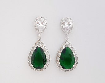 Green Bridal Earrings, Emerald Green Teardrop Earrings, Wedding Earrings Green, Wedding Jewelry, Esmeralda