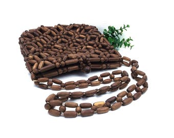 vintage 60s 70s wooden bead bag purse beaded beadwork wood handbag shoulder hippie boho bohemian rustic natural nature simple earthy korea
