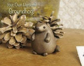 Groundhog Figurine - Your Own Personal Groundhog Day by Bewilder and Pine - Imbolc Weather Divination - Polymer Clay Figurine and Box Burrow