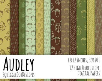 Hand Drawn Digital Printable Background Paper for Web Design, Crafts, and Scrapbooking Set of 12 - Audley - in Greens, Yellow, and Browns
