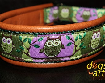 """Dog Collar """"Owl"""" by dogs-art, martingale collar, leather dog collar, slip dog collar, hoot, owl, dog collar leather, dog collar, collars"""