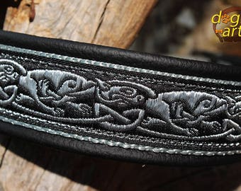 "Dog Collar ""Celtic Dragon"" by dogs-art, martingale collar, leather dog collar, dog collar leather,  celtic dog collar, celtic hounds, dragon"