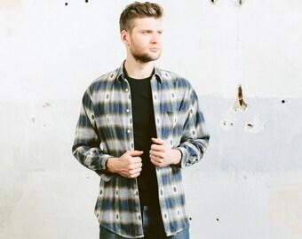 Vintage Aztec Plaid Shirt . Mens Thick Flannel 90s Grunge Shirt SOUTHWESTERN Oversized Blue White Lumberjack Jacket . size Medium