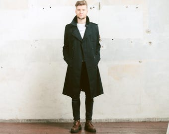 Vintage Black TRENCH Coat . Men's Topcoat Rain Coat Mac Coat Duster Coat 1980s Long Jacket Outerwear . size Medium M