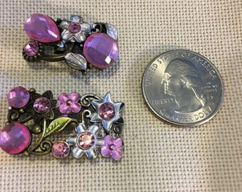Choice of One Pink Rhinestone Flower Small or Large Needle Minder-Cross Stitching-Cross Stitch-Embroidery-Hand Embroidery-Needlepoint