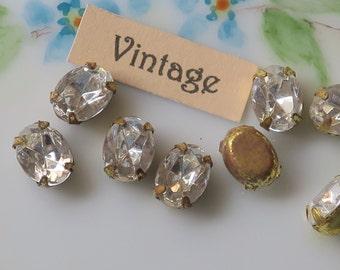 Vintage Oval Rhinestones,Crystal Prong Rhinestones, Pronged Setting 6x8mm, Glass Rhinestones, Brass Settings,NOS #910