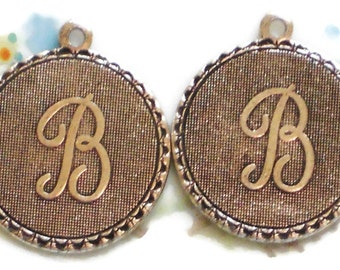 Vintage Initial B Charm Charms Letter Old Fashioned Antique Silver Ox Tag. #90B