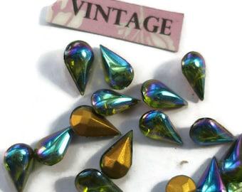 Vintage 10x6mm Pear Shape Rhinestones Olivine Aurora Teardrop Shape Foil AB borealis (1492G)