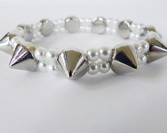 Pearl Stretch Bracelet with Silver Spikes Punk Rock Boho
