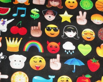 Emoticons ascii smiley face symbols fabric Back to School Fabric cotton quilting sewing 1 yard