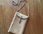 Vintage Kenyan Handmade Leather Pouch • Ethnic Handmade Bag