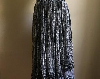 Indian Black and White Cotton Gauze Drawstring  Full Skirt • Free Size Skirt • Boho Chic Skirt