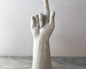 Hand Made Right Hand Sculpture Figure Art Fragment Garden Art Pointing Up, wall mounted mug hook