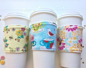Coffee Cup Cozy, Coffee Cup Sleeve, Cup Cozy, Cup Sleeve, Reusable Coffee Sleeve - Teacups & Birdies  [86-88]