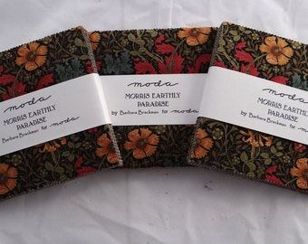 MORRIS EARTHLY PARADISE (3) charm packs Moda fabric squares shabby quilt sewing Barbara Brackman William Morris art nouveau