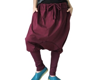 Burgundy Cotton Jersey Funky Drop Crotch Harem Ninja Yoga Unisex Pants Trousers With Adjustable Drawstring Waist