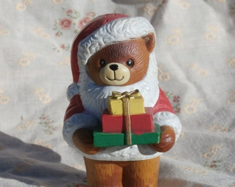 Lucy Rigg Christmas Bear Pepper Shaker, 1982 Bear Holding Gifts