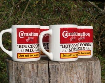 4 Carnation Hot Cocoa Mix Mugs, Great Vintage Housewarming Gift