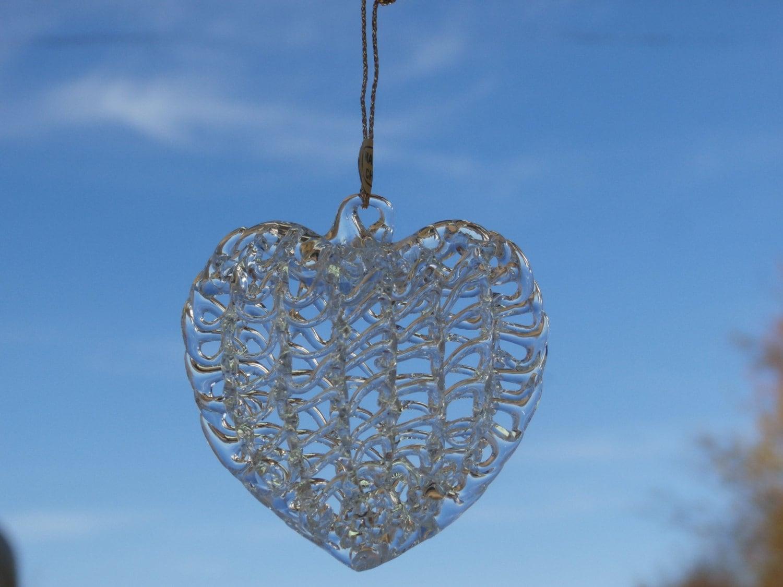 5 Vintage Spun Glass Heart Shaped Ornaments Several Sets