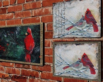 Serenity Prayer wall art cardinal couple red bird 20x16 10x8  14x11 inches for sober sobriety gift praying peace of mind encouragement