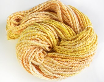 Handspun Bluefaced Leicester Yarn, Hand Dyed, Golden Corn, 2 ply Handspun Yarn UK