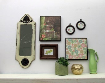 wall gallery - Bohemian Lace -  a 6 pc vintage  wall art collection - Boho Chic - romantic - eclectic