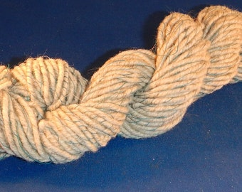 2.5 ounces Handspun Karakul Wool, Cotton Thread 2-Ply Worsted-weight Art Yarn