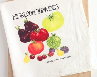 Tea Towel of Watercolor Heirloom Tomatoes, Colorful Deluxe Dish Cloth