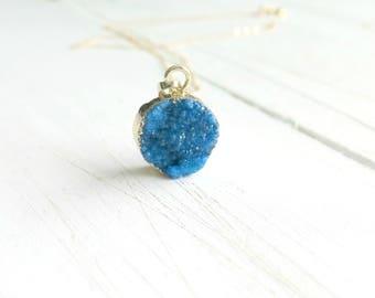 Druzy Necklace, Blue Druzy Necklace on 14K Gold, Gold Edge Circle Druzy Necklace, Druzy Jewelry, Sparkling Blue Druzy, Crystal Necklace blue