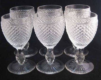 Ivima Portugal Diamond Point Pressed Glass Clear Wine Glasses (6)