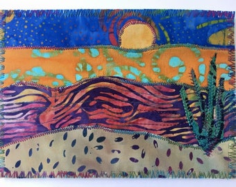Ocean Moonrise 2 landscape fabric postcard