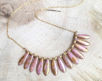 Rose Gold Dagger Bead Necklace