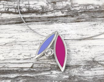 Silver and coloured resin enamel petal pendant set with zirconia