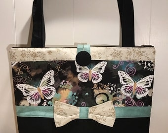 Butterfly Tote / Purse or Choose Any Fabric French Eiffel Tower Black and Pink Dots - Personalized Option - Made to Order - Design Your Own