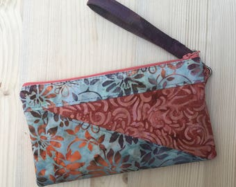 Made to Order Purple Coral & Blue Batik Japanese Words Dolls Phone Case Wristlet Zipper Shoulder Strap iPhone 6 Plus Note