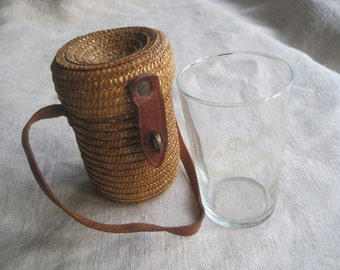 The cutest Antique French glass measuring jug in original straw and leather case.  From La Preste les Bains spa town.  Picnic beaker.