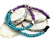 Gypsy Wrap Bracelet, Tassel Bead Bracelet, Purple Beaded Choker, Dainty Beaded Choker, Boho Beaded Choker, Minimal Choker, Gift for Her
