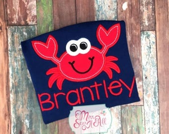 Boys Crab Shirt, Custom Crab Shirt, Boys Summer Shirt, Custom Summer Shirt, Boys Summer Romper, Beach Crab Shirt, Crab Applique, Crab Design