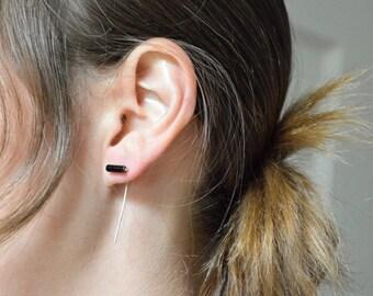 Onyx Bar Threader Earrings in 925 Sterling Silver