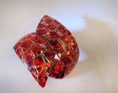 VTG RED HOT Crackled Gold By-Pass Hinged Bracelet
