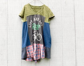 Upcycled Dress, Loose Fit, Bike Tunic, Patchwork Dress, Reclaimed, Work Tunic, Recycled Clothing, Summer Dress, Wearable Art, Fun Clothes,