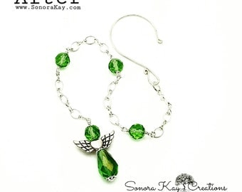 greenery Crystal Guardian Angel Car Charm or Bookmark in Silver Custom Made to order