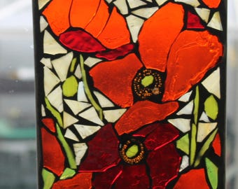 Poppies,  Stained Glass SunCatcher or wall Decoration