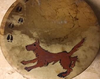 "Deer print drum Pigment Paint Hand drum native american made 10"" drum"
