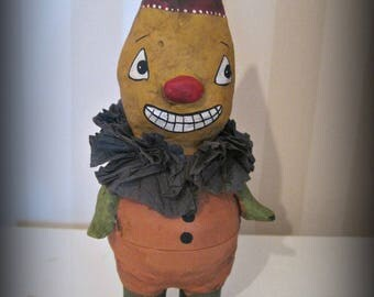 Pumpkin man candy container - Halloween - Art doll - papier mache - OOAK - handmade