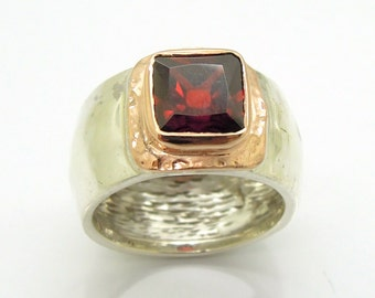 Garnet zircon ring set in rose gold and silver, wide ring